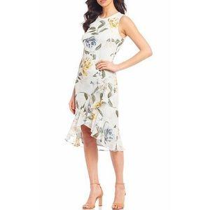 Calvin Klein Floral Asymmetric Ruffle Midi Dress
